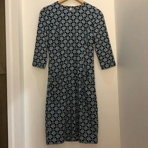 NWT J. McLaughlin Catalyst 3/4 Sleeve Dress with Pockets Black White Lt Blue S
